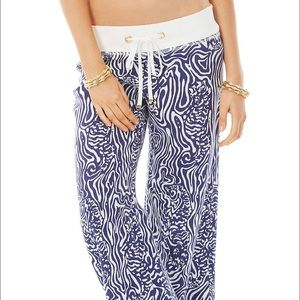 Lilly Pulitzer Linen The Beach Pant Navy W…